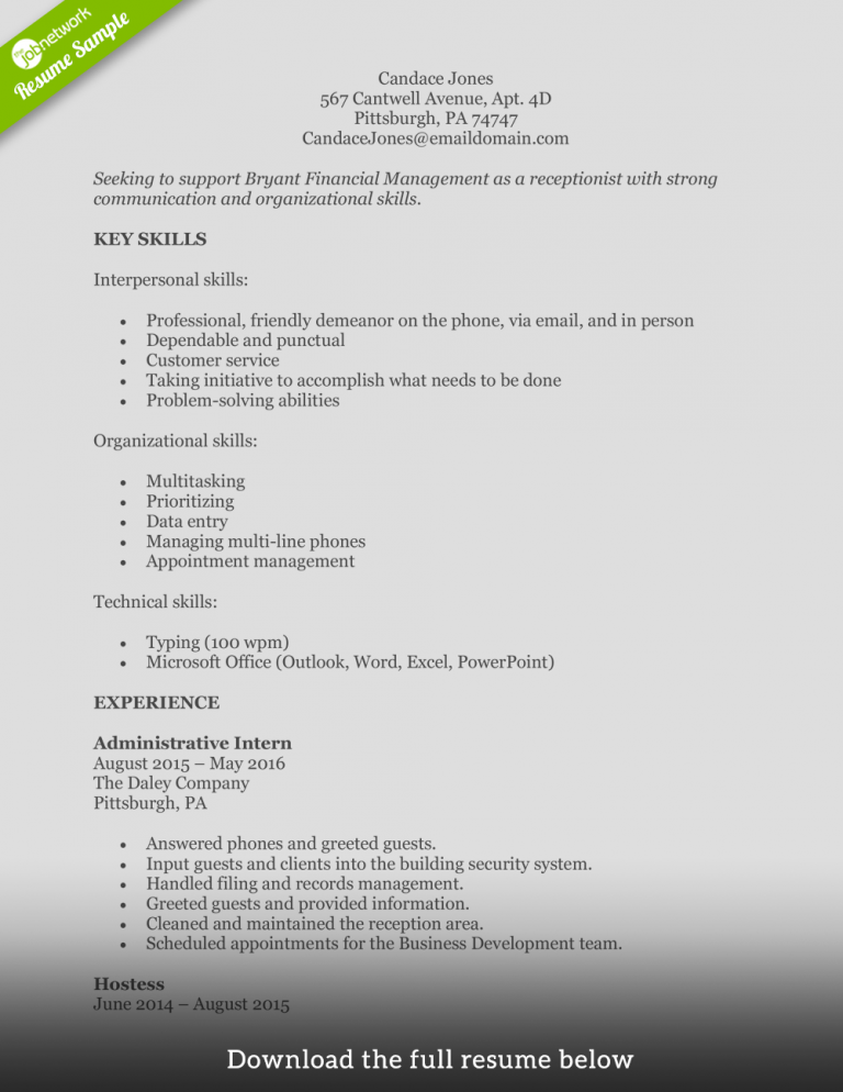 How To Write A Perfect Receptionist Resume Examples Included
