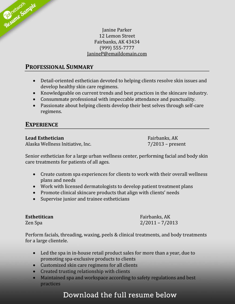 cosmetology-resume-esthetician