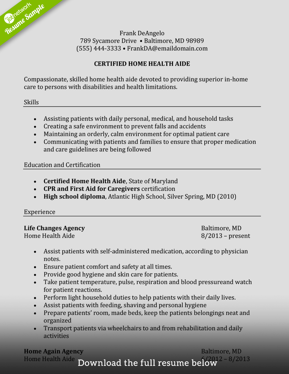 How To Write A Perfect Caregiver Resume Examples Included