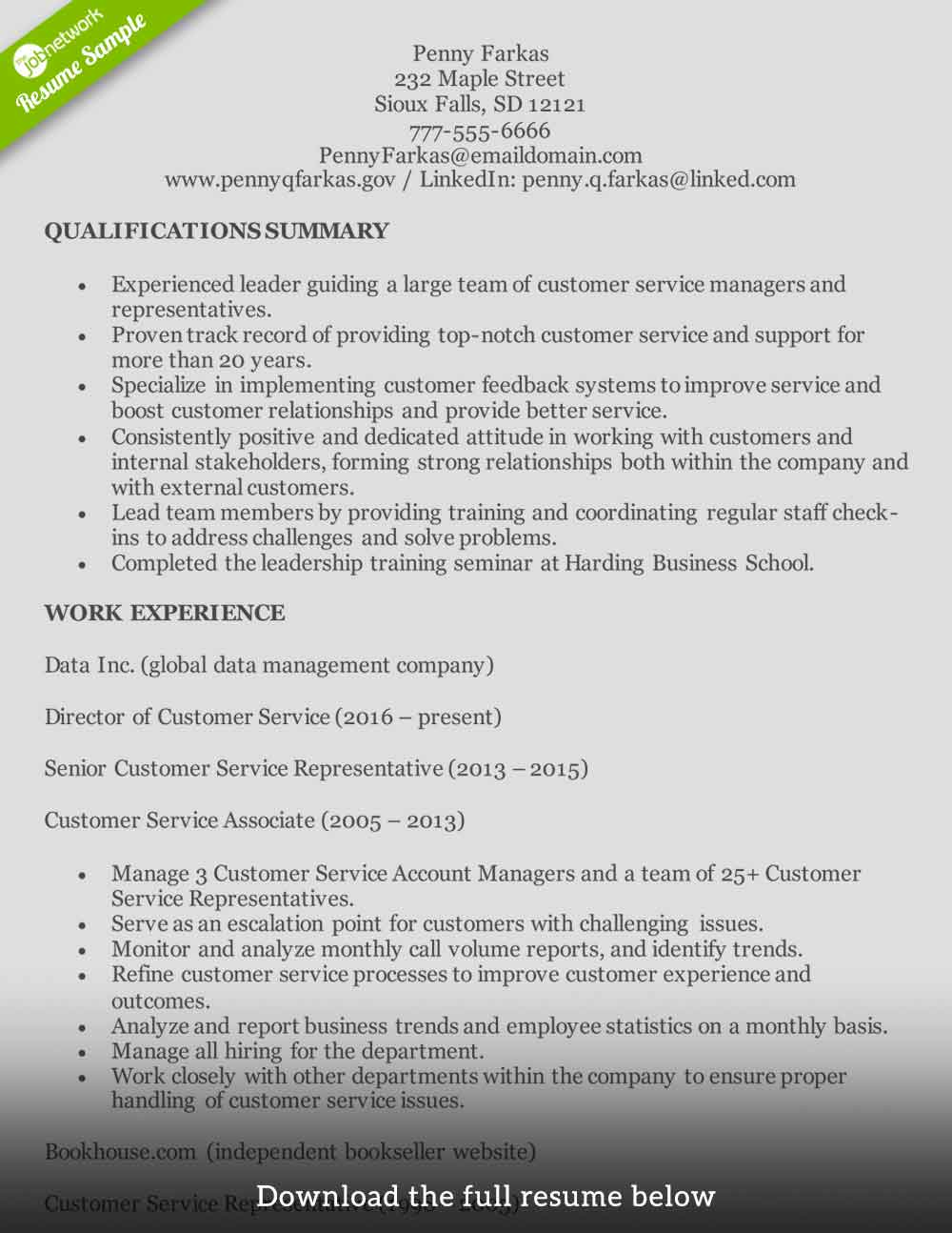 customer-service-resume-experienced