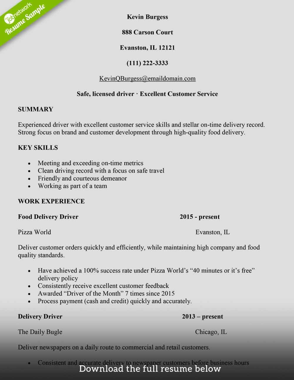 How To Write A Delivery Driver Resume With Examples The Jobnetwork