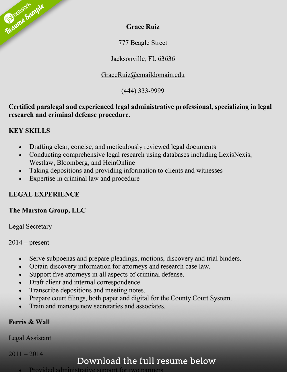 legal-secretary-resume-paralega